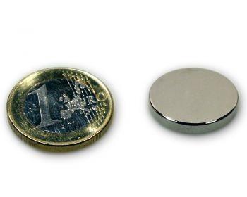 Scheibenmagnet Ø 20,0 x 3,0 mm Neodym N45 vernickelt - hält 4,1 kg