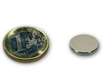 Scheibenmagnet Ø 15,0 x 2,0 mm Neodym N45 vernickelt - hält 2,3 kg