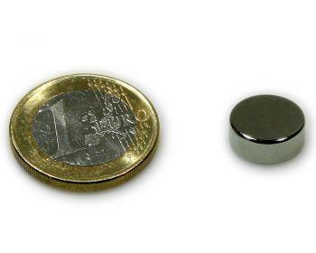 Scheibenmagnet Ø 12,0 x 5,0 mm Neodym N45 vernickelt - hält 4,2 kg