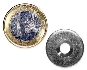 Metallscheibe Ø 20 mm mit Bohrung und Senkung verzinkt