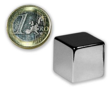 Würfelmagnet 20,0 x 20,0 x 20,0 mm Neodym N45 vernickelt - hält 27,0 kg