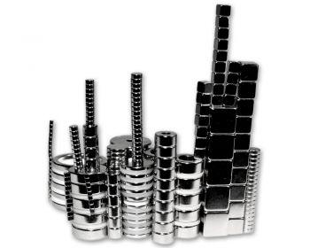 Großes Magnet-Set mit 210 Magneten (Ring-, Würfel-, Scheibenmagneten)