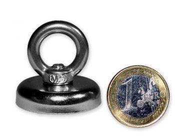 Ösenmagnet Ø 32 mm mit Neodym - verzinkt - hält 25 kg