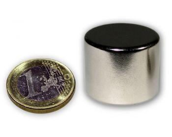 Scheibenmagnet Ø 24,5 x 20,0 mm Neodym N45 vernickelt - hält 26,0 kg