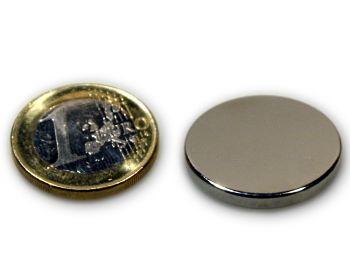 Scheibenmagnet Ø 25,0 x 2,0 mm Neodym N45 vernickelt - hält 4,1 kg