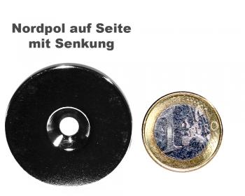 Scheibenmagnet Ø 40,0 mm x 4,0 mm Neodym N35 vernickelt - 4,5 mm Senkl. Nord