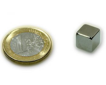 Würfelmagnet 9,0 x 9,0 x 9,0 mm Neodym N45 vernickelt - hält 5,9 kg