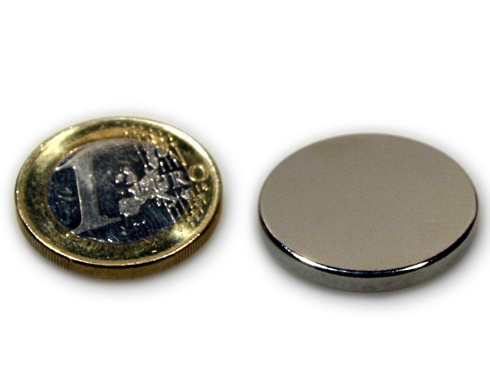 Scheibenmagnet Ø 25,0 x 3,0 mm Neodym N45 vernickelt - hält 5,3 kg
