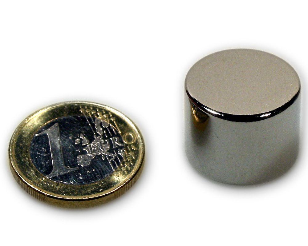 Scheibenmagnet Ø 20,0 x 15,0 mm Neodym N45 vernickelt - hält 16,0 kg