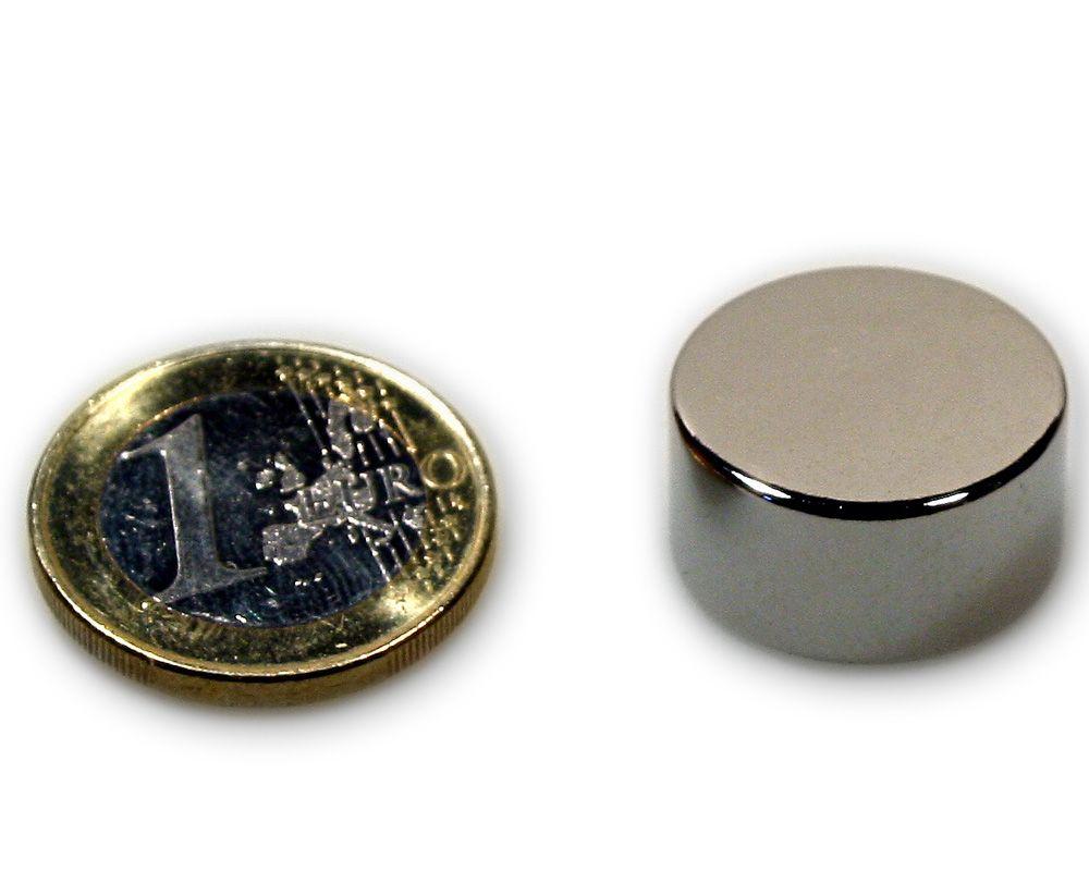 Scheibenmagnet Ø 20,0 x 10,0 mm Neodym N45 vernickelt - hält 12,0 kg