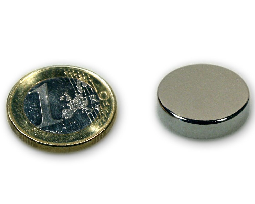 Scheibenmagnet Ø 20,0 x 5,0 mm Neodym N45 vernickelt - hält 6,8 kg