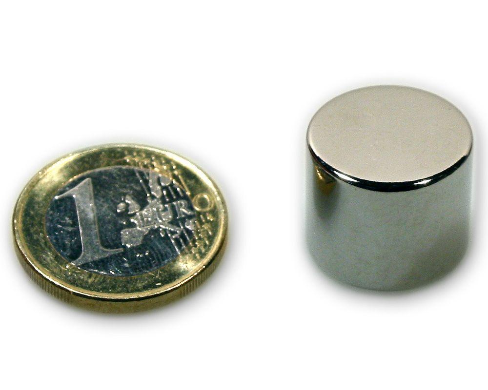Scheibenmagnet Ø 18,0 x 15,0 mm Neodym N45 vernickelt - hält 14,0 kg