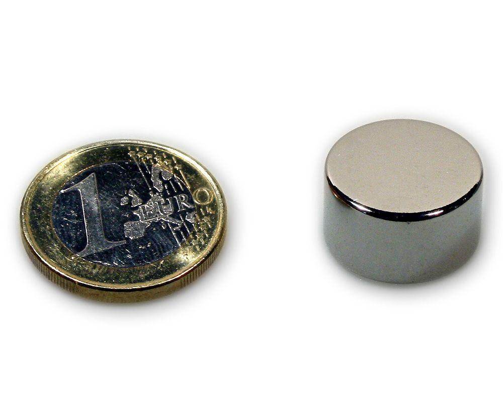 Scheibenmagnet Ø 18,0 x 10,0 mm Neodym N45 vernickelt - hält 10,0 kg