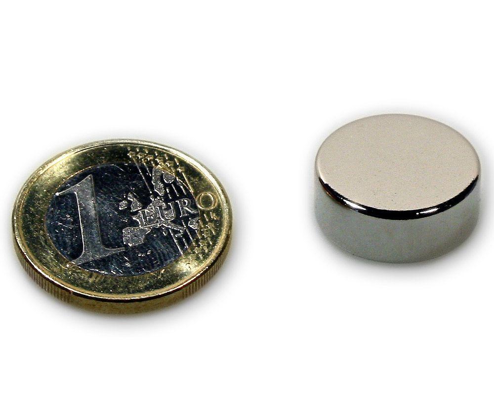 Scheibenmagnet Ø 18,0 x 7,0 mm Neodym N45 vernickelt - hält 7,2 kg