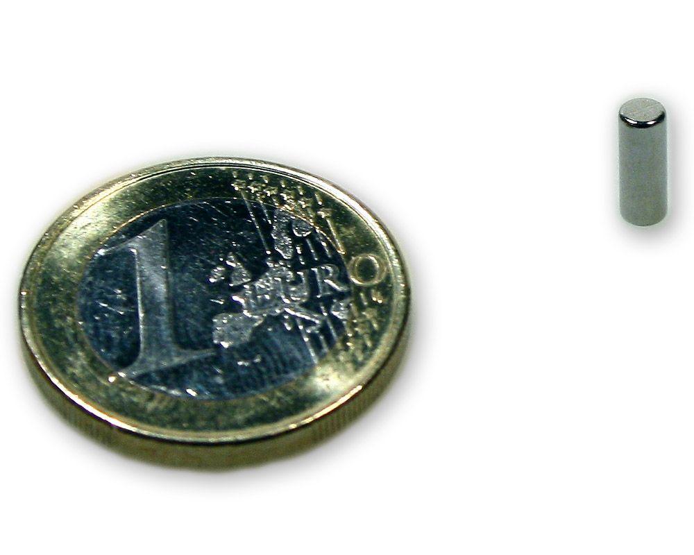 Stabmagnet Ø 3,0 x 8,0 mm Neodym N45 vernickelt - hält 550 g