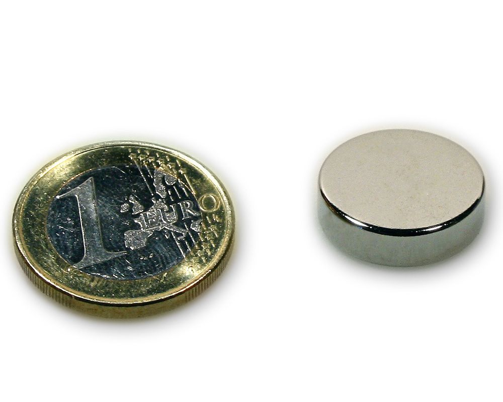 Scheibenmagnet Ø 18,0 x 5,0 mm Neodym N45 vernickelt - hält 4,3 kg