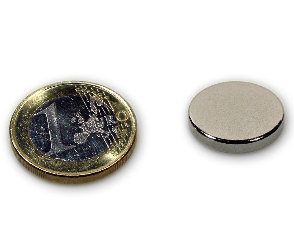 Scheibenmagnet Ø 18,0 x 3,0 mm Neodym N45 vernickelt - hält 3,3 kg