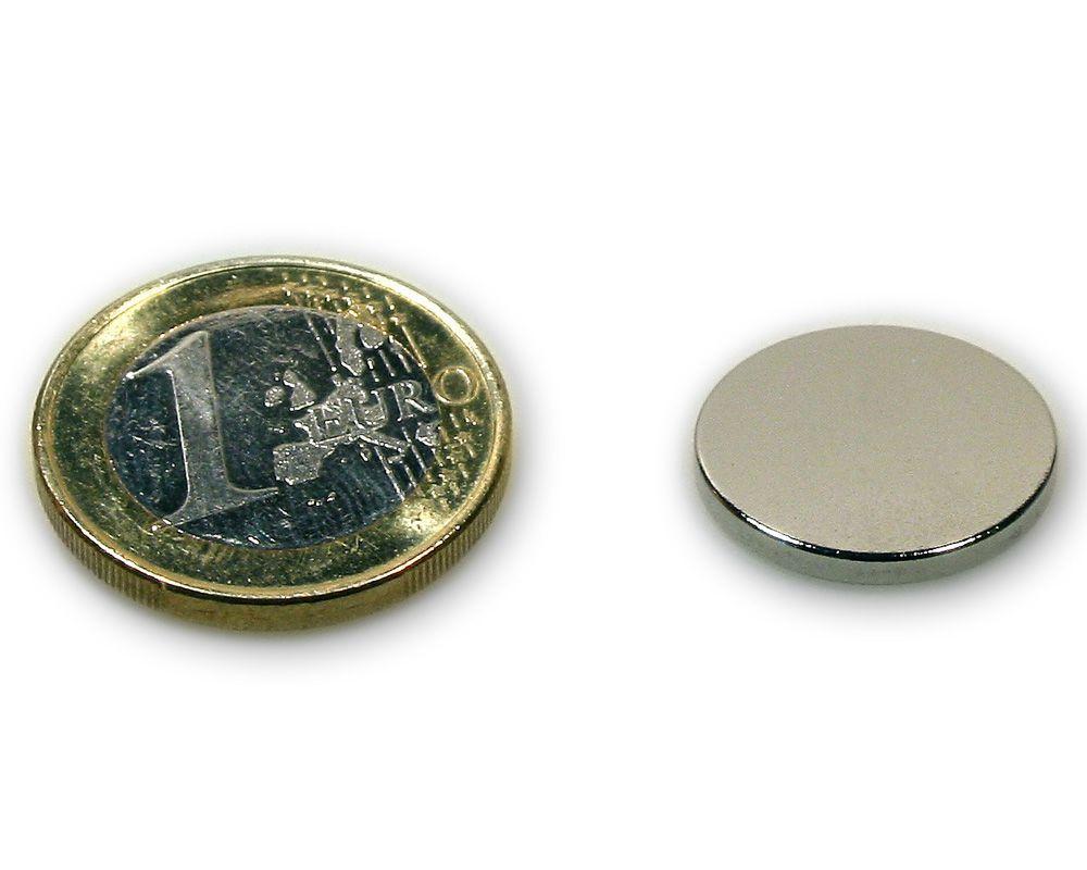Scheibenmagnet Ø 18,0 x 2,0 mm Neodym N45 vernickelt - hält 2,8 kg