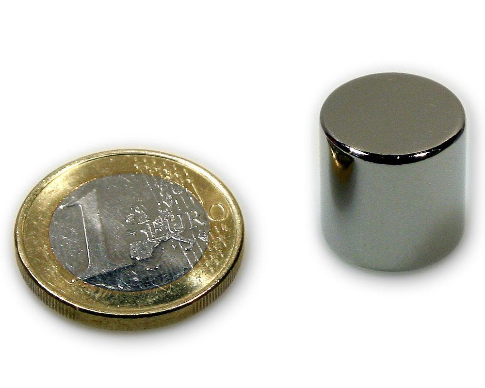 Scheibenmagnet Ø 15,0 x 15,0 mm Neodym N45 vernickelt - hält 14,5 kg