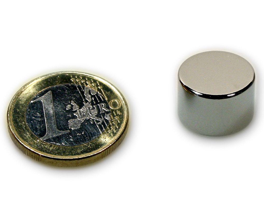 Scheibenmagnet Ø 15,0 x 10,0 mm Neodym N45 vernickelt - hält 10,0 kg