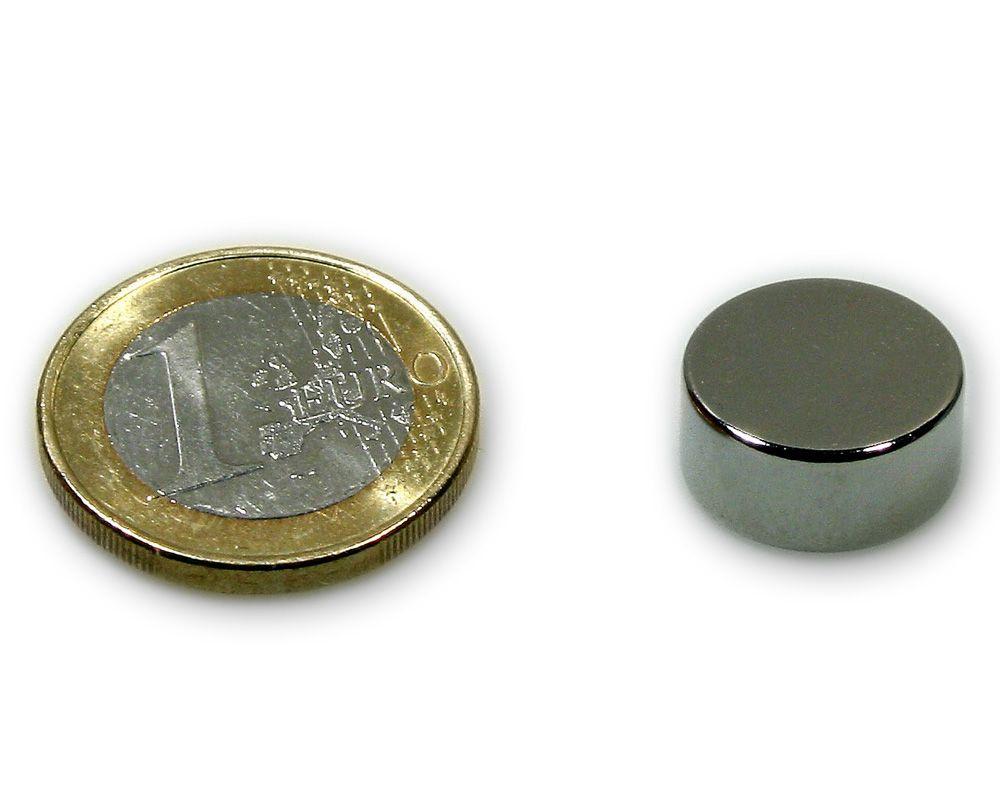 Scheibenmagnet Ø 15,0 x 7,0 mm Neodym N45 vernickelt - hält 7,2 kg