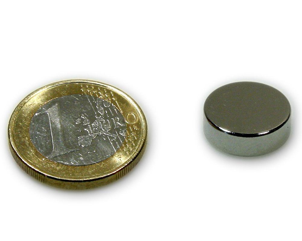 Scheibenmagnet Ø 15,0 x 5,0 mm Neodym N45 vernickelt - hält 5,2 kg