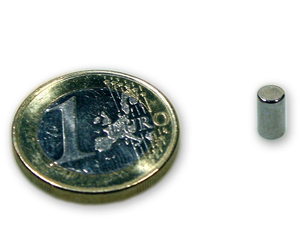 Stabmagnet Ø 4,0 x 7,0 mm Neodym N45 vernickelt - hält 600 g