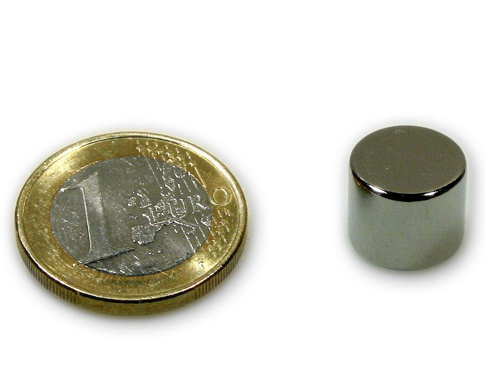 Scheibenmagnet Ø 12,0 x 10,0 mm Neodym N45 vernickelt - hält 7,6 kg