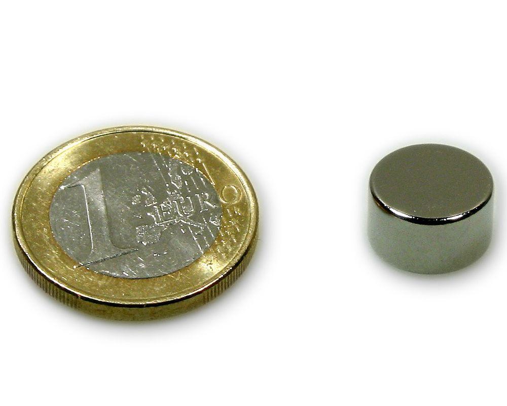 Scheibenmagnet Ø 12,0 x 7,0 mm Neodym N45 vernickelt - hält 5,0 kg