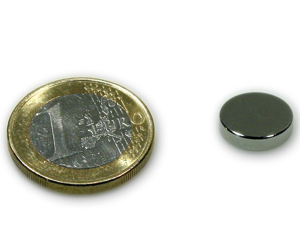 Scheibenmagnet Ø 12,0 x 3,0 mm Neodym N45 vernickelt - hält 2,4 kg