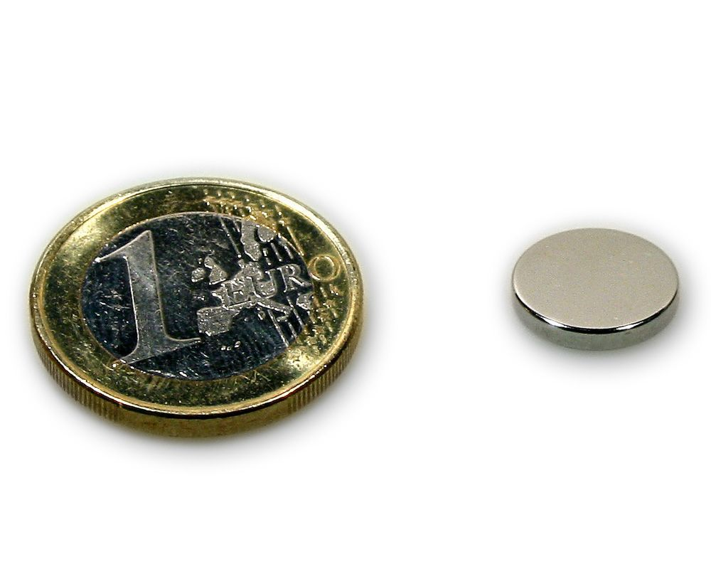 Scheibenmagnet Ø 12,0 x 2,0 mm Neodym N45 vernickelt - hält 1,8 kg