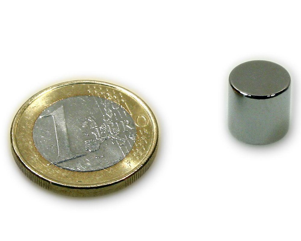 Scheibenmagnet Ø 10,0 x 10,0 mm Neodym N45 vernickelt - hält 4,0 kg