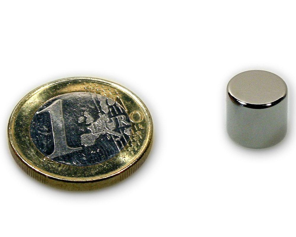 Scheibenmagnet Ø 10,0 x 9,0 mm Neodym N45 vernickelt - hält 3,7 kg