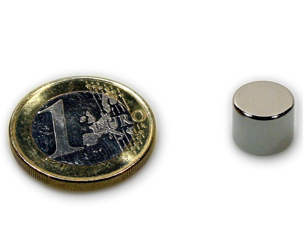 Scheibenmagnet Ø 10,0 x 8,0 mm Neodym N45 vernickelt - hält 3,5 kg