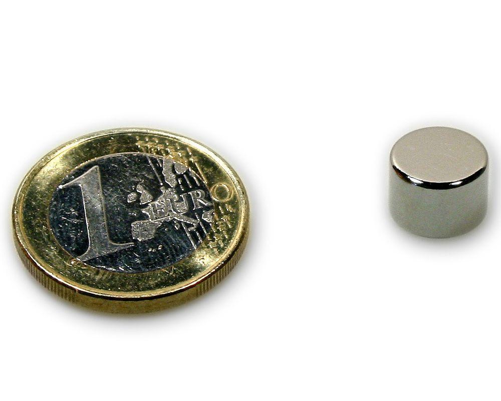 Scheibenmagnet Ø 10,0 x 7,0 mm Neodym N45 vernickelt - hält 3,4 kg