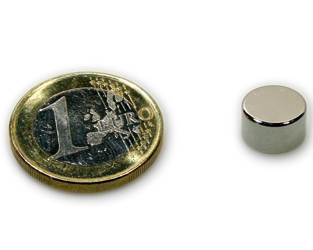 Scheibenmagnet Ø 10,0 x 6,0 mm Neodym N45 vernickelt - hält 3,3 kg