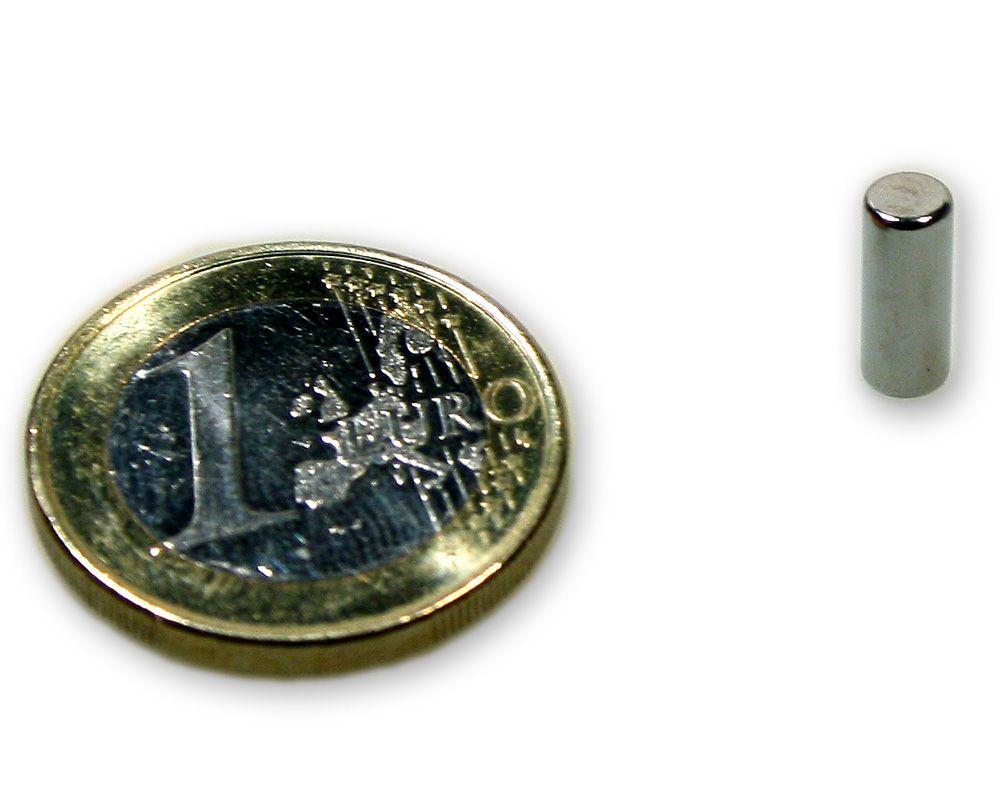 Stabmagnet Ø 4,0 x 10,0 mm Neodym N45 vernickelt - hält 620 g