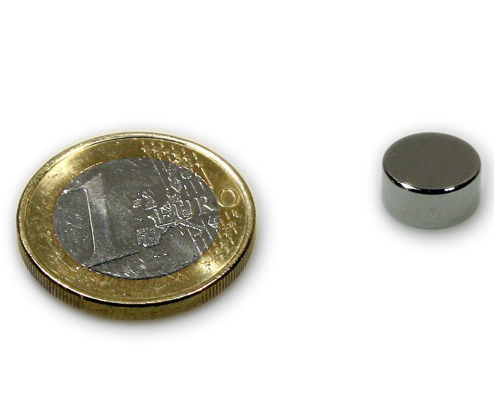 Scheibenmagnet Ø 10,0 x 5,0 mm Neodym N45 vernickelt - hält 3,2 kg