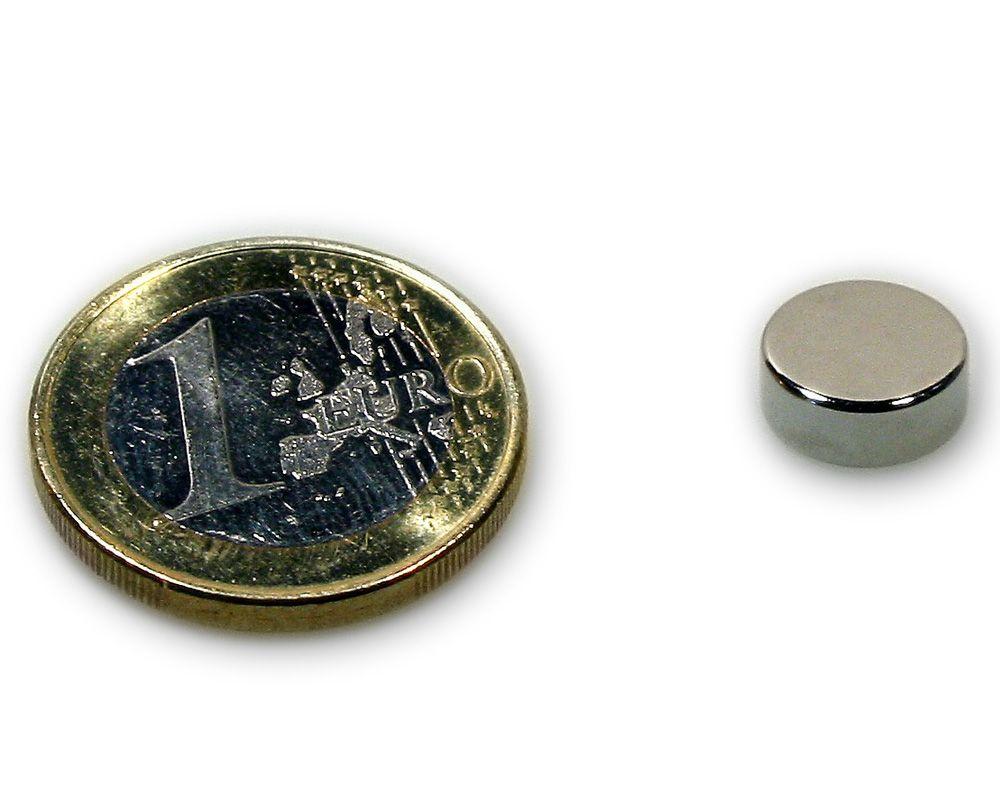 Scheibenmagnet Ø 10,0 x 4,0 mm Neodym N45 vernickelt - hält 3,0 kg