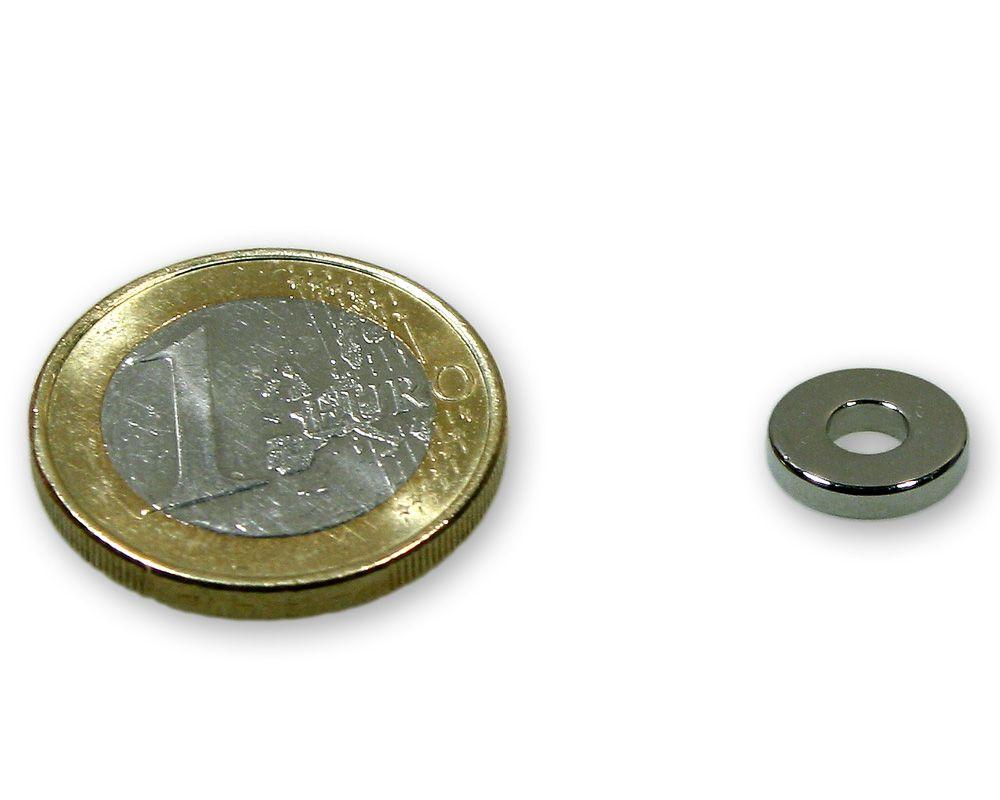 Ringmagnet Ø 10,0 x 4,0 x 2,0 mm Neodym N45 vernickelt - hält 1,1 kg