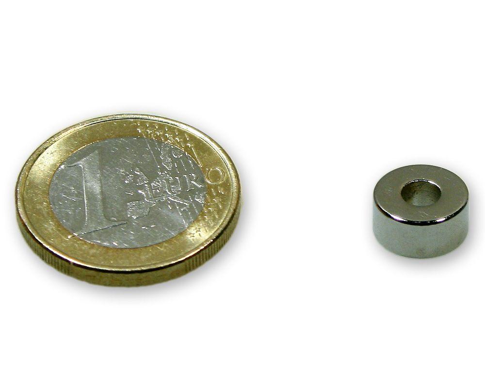 Ringmagnet Ø 10,0 x 4,0 x 5,0 mm Neodym N45 vernickelt - hält 2,2 kg