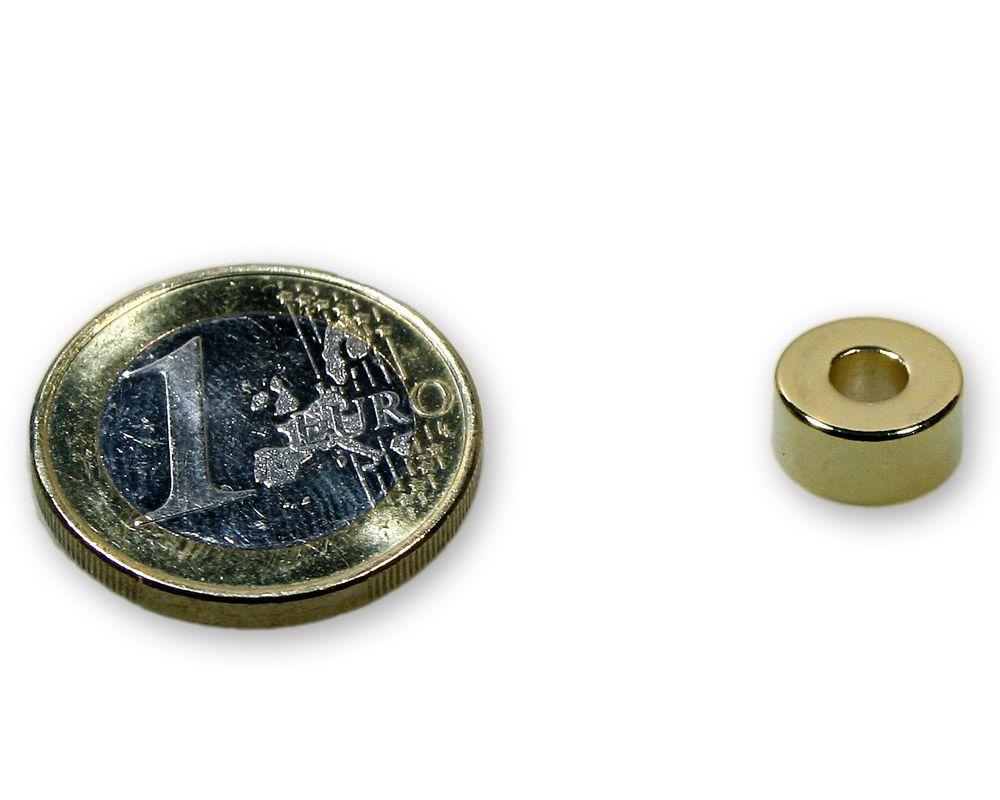 Ringmagnet Ø 10,0 x 4,0 x 5,0 mm Neodym N45 vergoldet - hält 2,2 kg