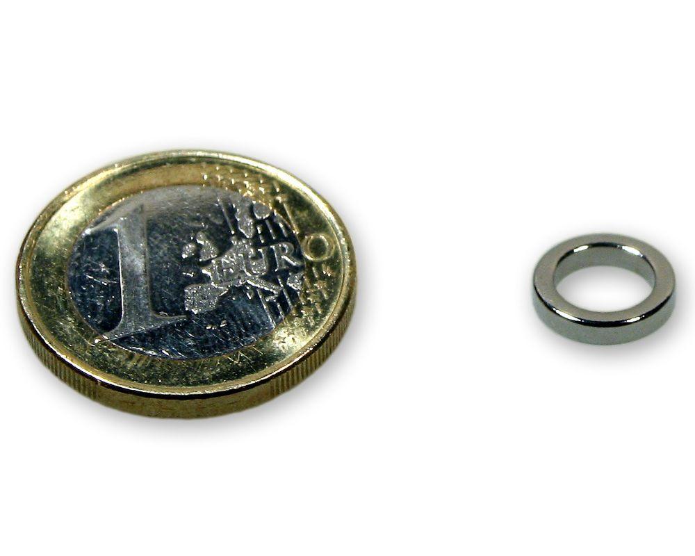 Ringmagnet Ø 10,0 x 7,0 x 2,0 mm Neodym N45 vernickelt - hält 550 g