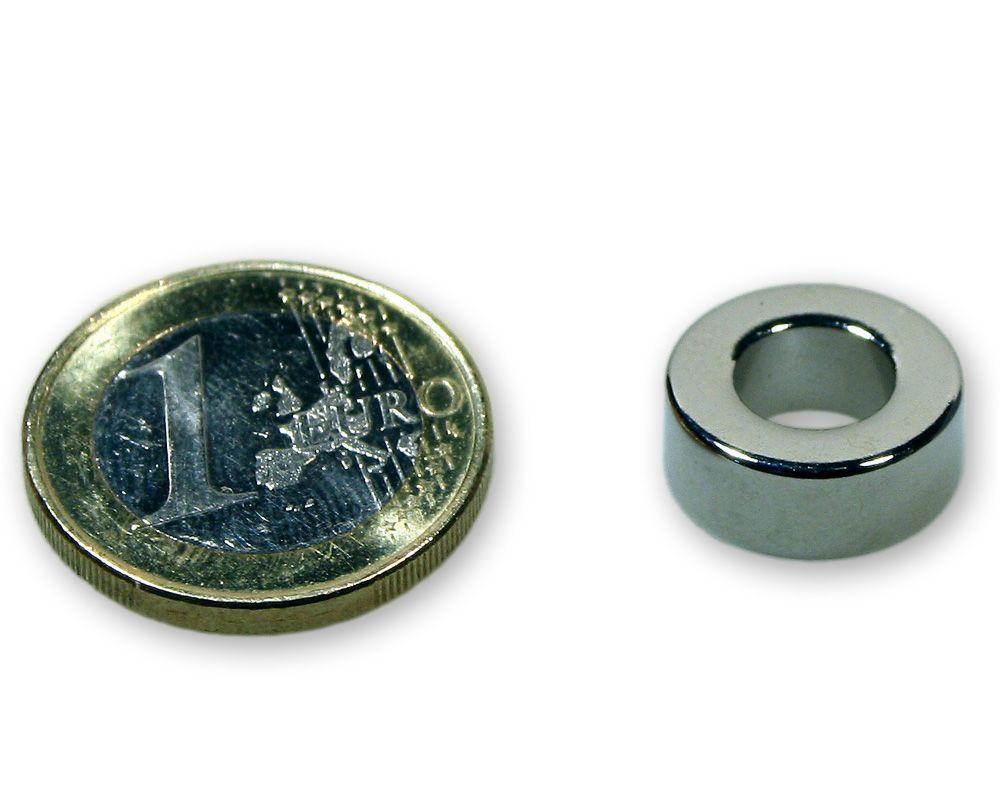 Ringmagnet Ø 15,0 x 8,0 x 6,0 mm Neodym N45 vernickelt - hält 5,8 kg