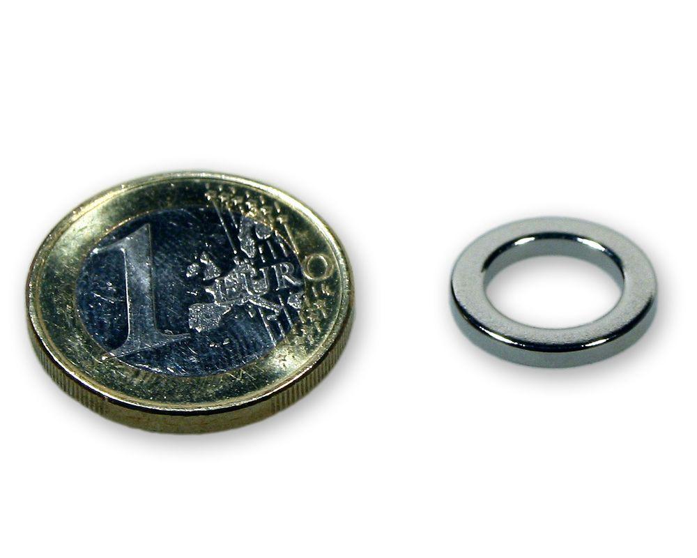 Ringmagnet Ø 15,0 x 10,0 x 2,0 mm Neodym N45 vernickelt - hält 900 g