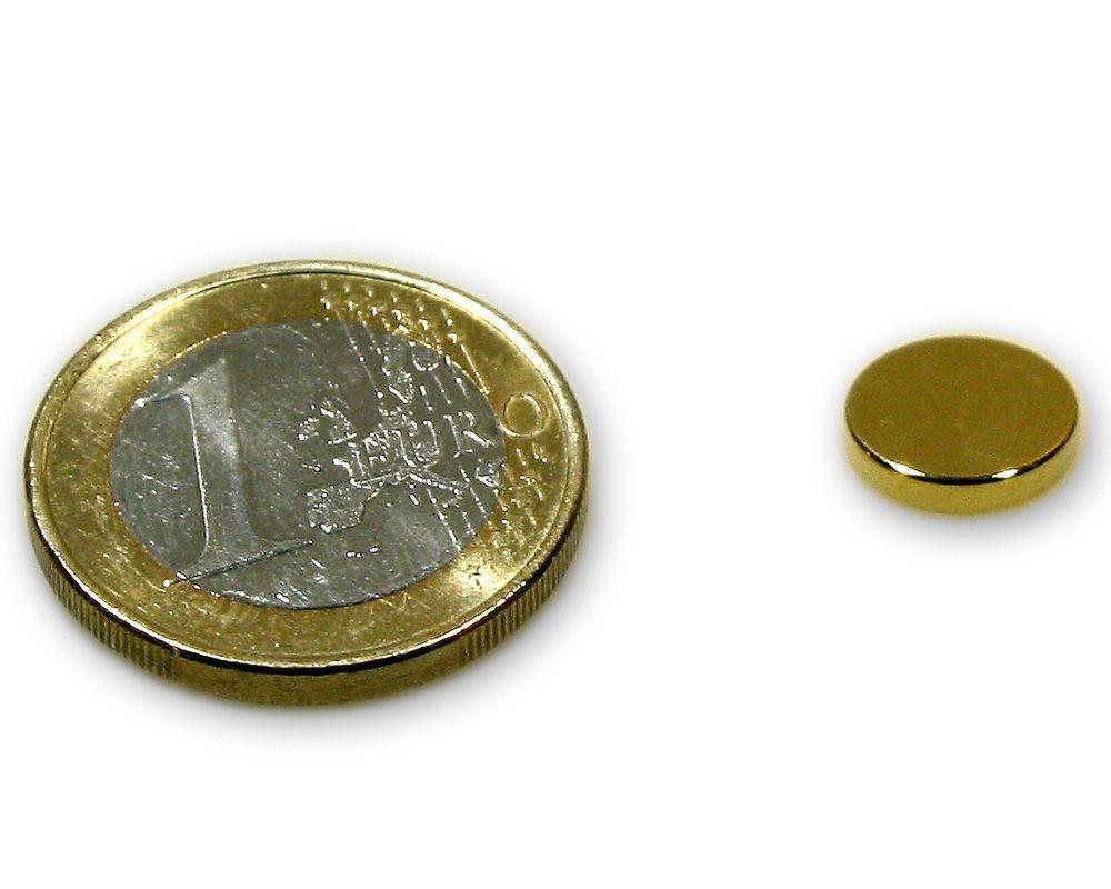 Scheibenmagnet Ø 10,0 x 2,0 mm Neodym N45 vergoldet - hält 1,4 kg