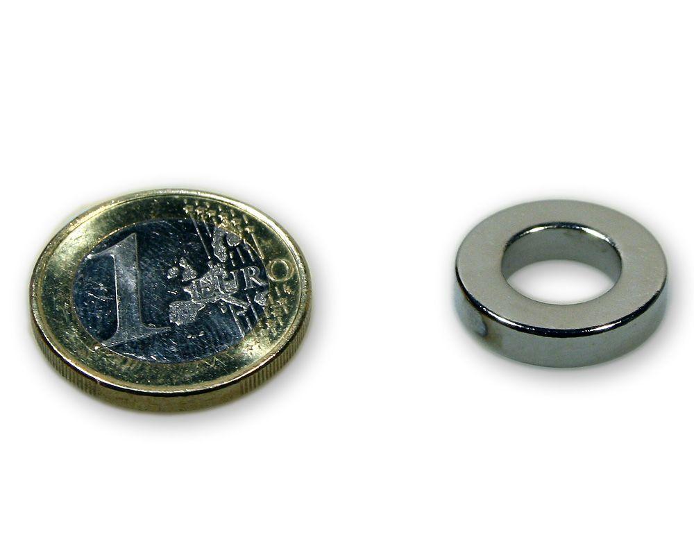Ringmagnet Ø 18,0 x 10,0 x 4,0 mm Neodym N45 vernickelt - hält 2,9 kg