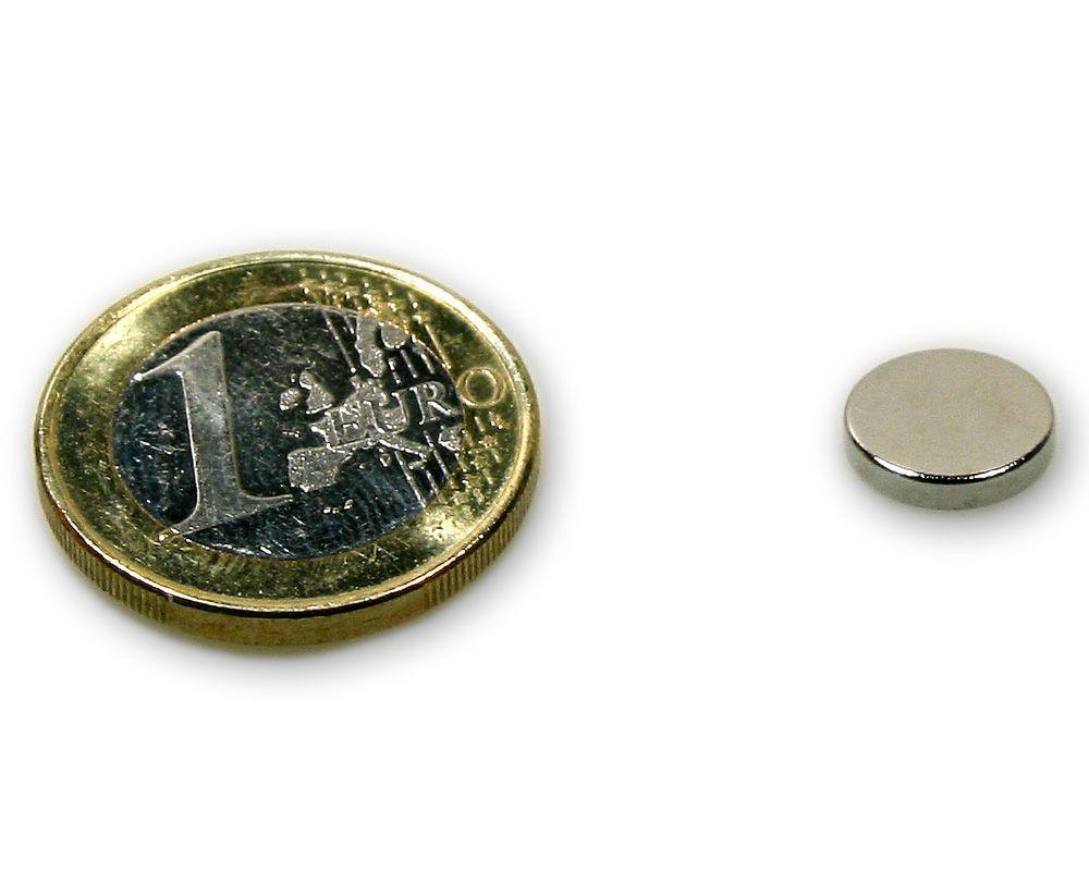 Scheibenmagnet Ø 10,0 x 2,0 mm Neodym N45 vernickelt - hält 1,4 kg