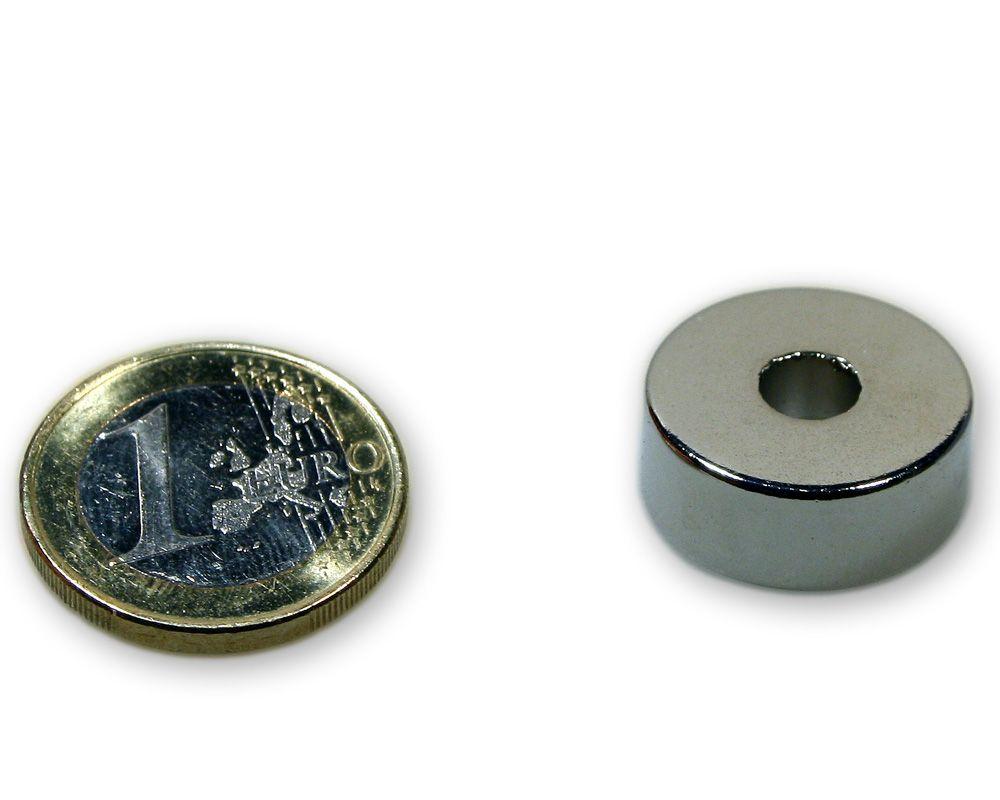 Ringmagnet Ø 20,0 x 6,0 x 8,0 mm Neodym N45 vernickelt - diametral