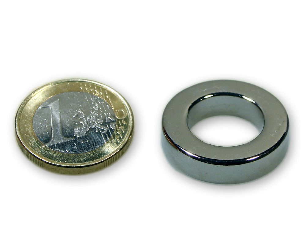 Ringmagnet Ø 25,0 x 15,0 x 6,0 mm Neodym N45 vernickelt - hält 8,8 kg